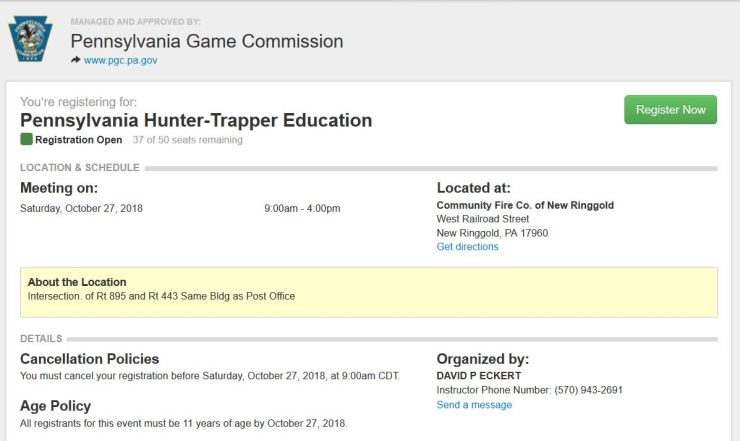 PA Hunter-Trapper Education